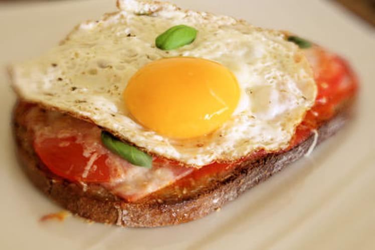 Tartine express jambon, tomate et oeuf