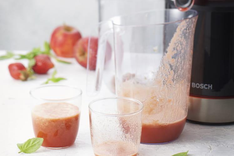 Jus pomme, fraise et basilic
