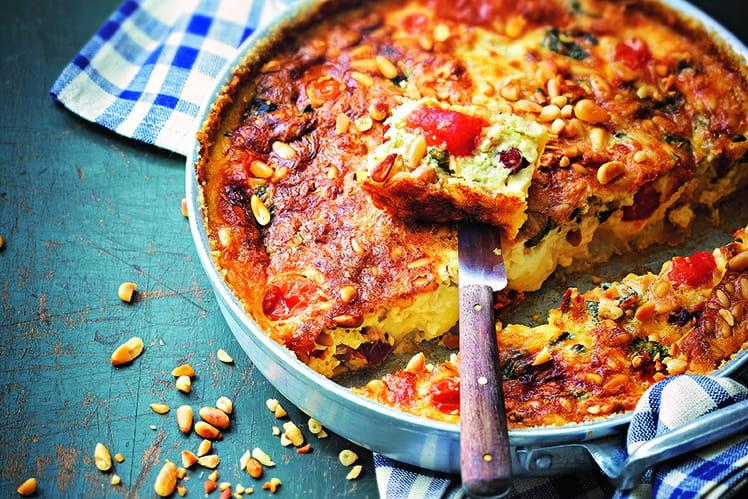 Clafoutis de tomates cerises, mozzarella et pignon