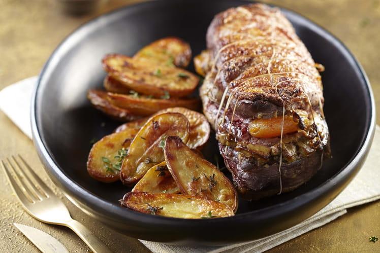 Rôti de magret de canard aux abricots et ses pommes de terre Ratte du Touquet