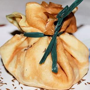 aumônières de pommes au munster et au cumin