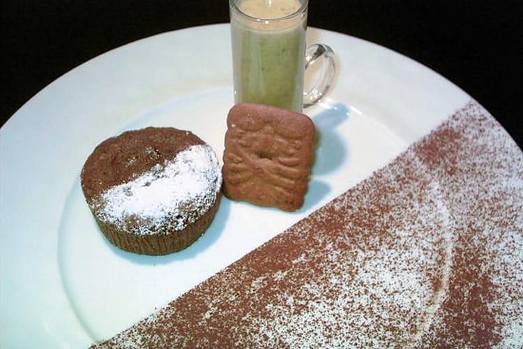 Coulant au chocolat, crème anglaise aux spéculoos