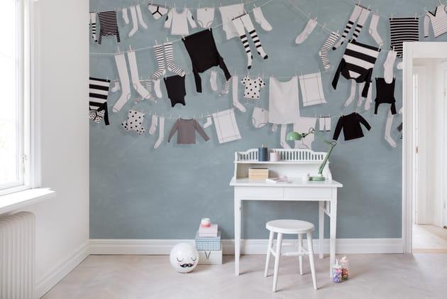 Papier peint Laundry Day blue pastel par Rebel Walls
