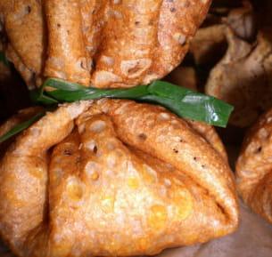 aumônières de crevettes au curry