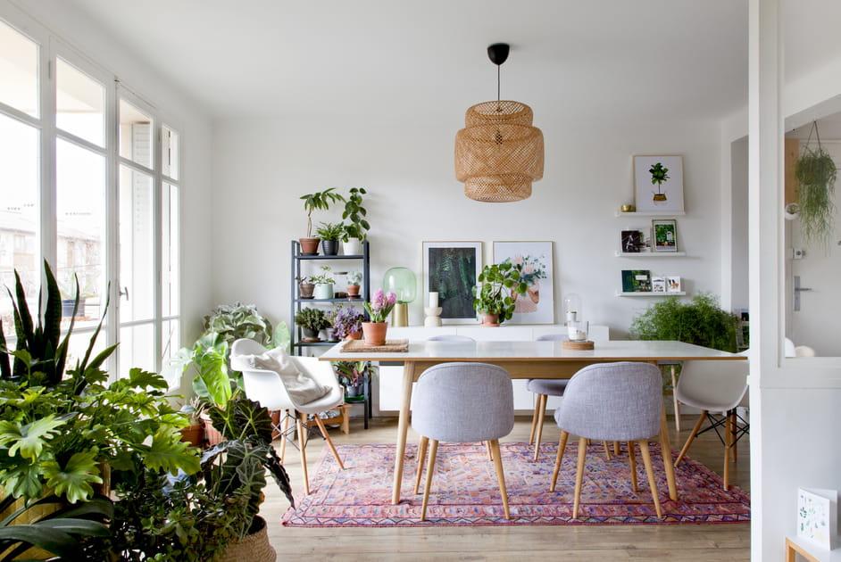 Une salle à manger à la déco green
