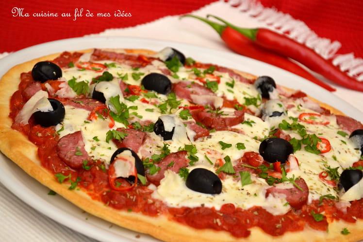 Pizza all'arrabiata, salami piquant et pecorino