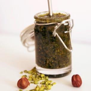 pesto de coriandre aux pistaches et noisettes