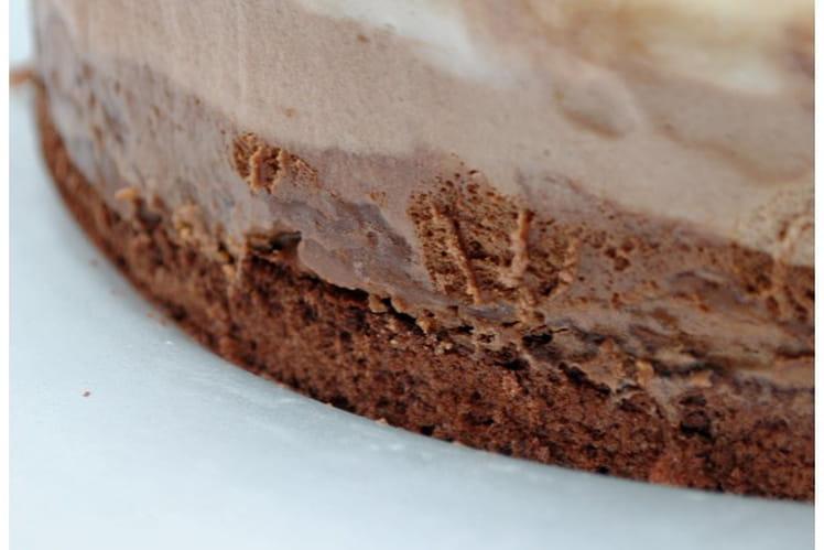 Entremet croustillant aux trois chocolats