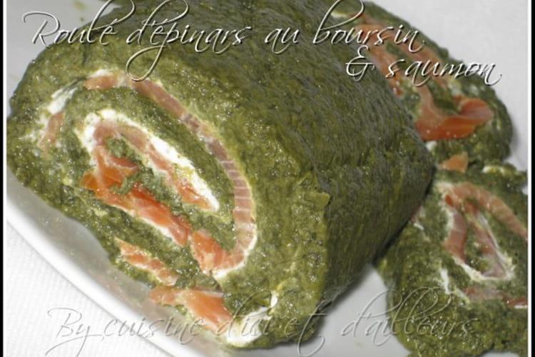 Roulé d'épinards au saumon et boursin