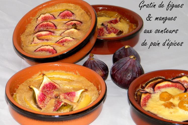 Gratin de mangue et de figues parfumé au pain d'épices