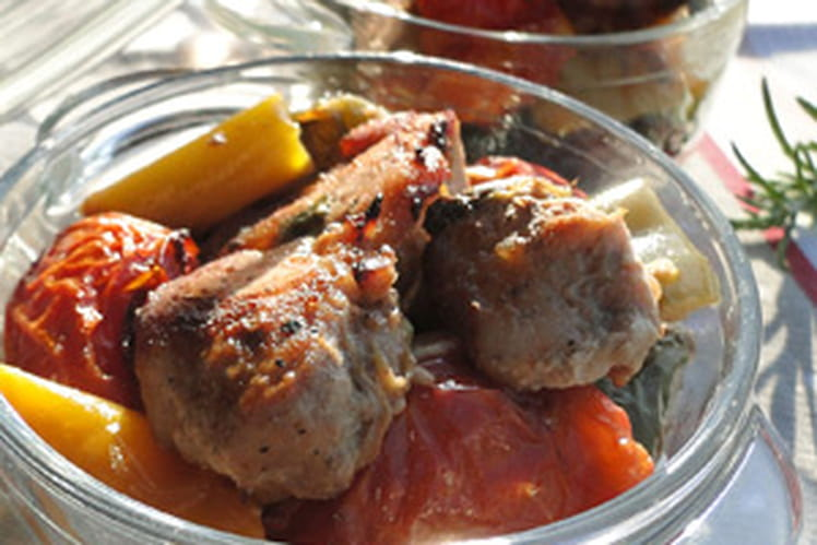 Sauté de porc aux tomates et poivrons confits