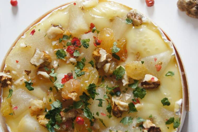 Camembert fondu poire et noix