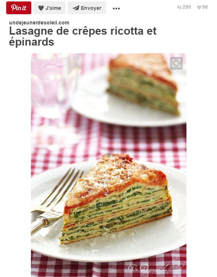 Lasagnes de crêpes ricotta et épinards