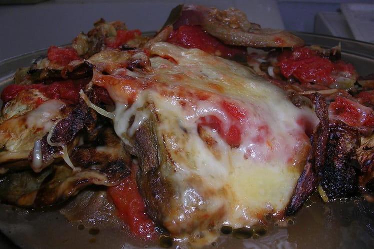 Gratin d'aubergines et tomates à la mozzarella