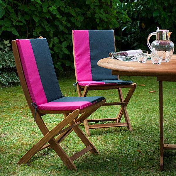 Coussin pour fauteuil bicolore de jardin priv - Coussins pour fauteuil de jardin ...