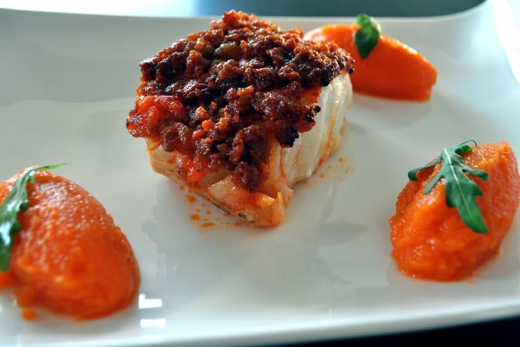 Dos de cabillaud crumble de chorizo, purée de carottes-safran