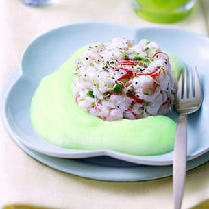 tartare de bar et son espuma de wasabi