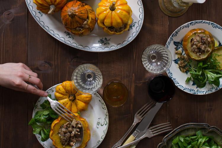 Courges farcies aux cèpes, artichauts et marrons