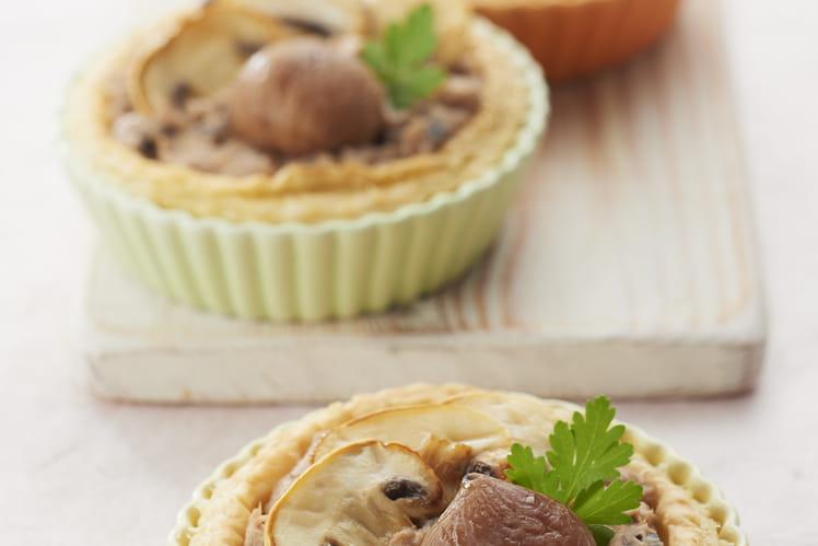 Tartelettes croustillantes à la purée de marrons et aux champignons