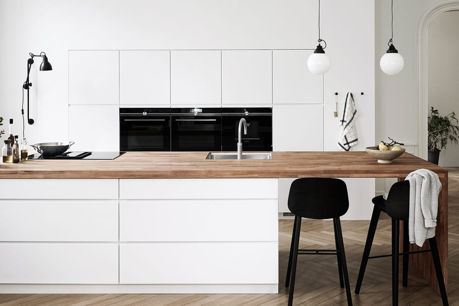 Cuisine blanche et bois: quelle couleur au mur, quel sol?