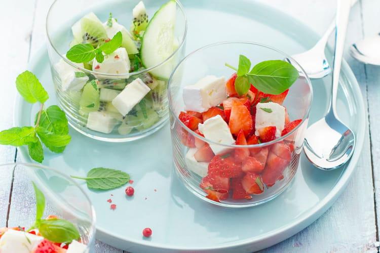 Tartare de fraises et basilic, tartare de concombre et kiwi menthe caprice des dieux
