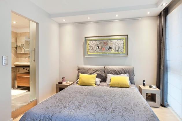 La chambre parentale, un joli duo gris et jaune