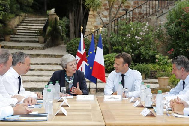Emmanuel Macron et Theresa May parlent Brexit au fort de Brégançon (2018)