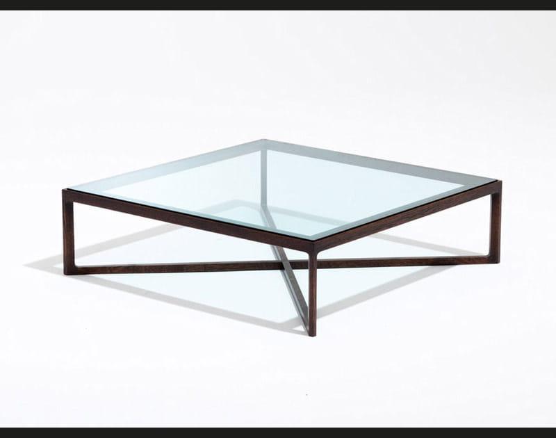 Table basse naturelle en verre et bois
