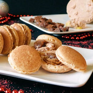 macarons au pain d'épices, foie gras et figues