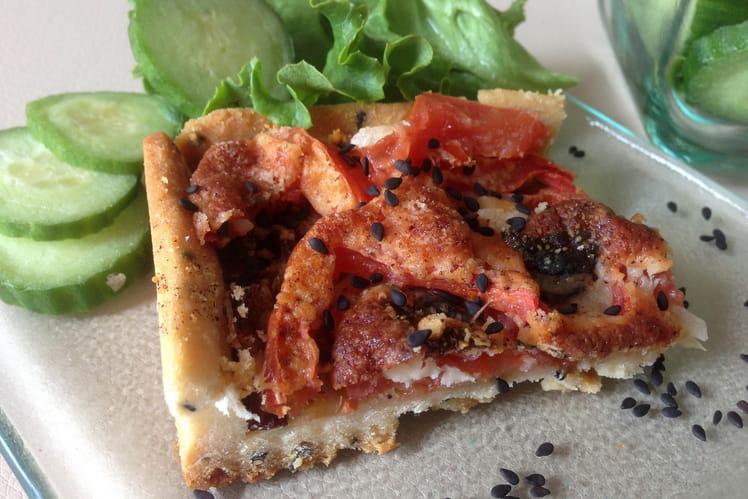 Tarte Tomates Oignons 2 Fromages et pâte brisée sans œuf au sésame noir