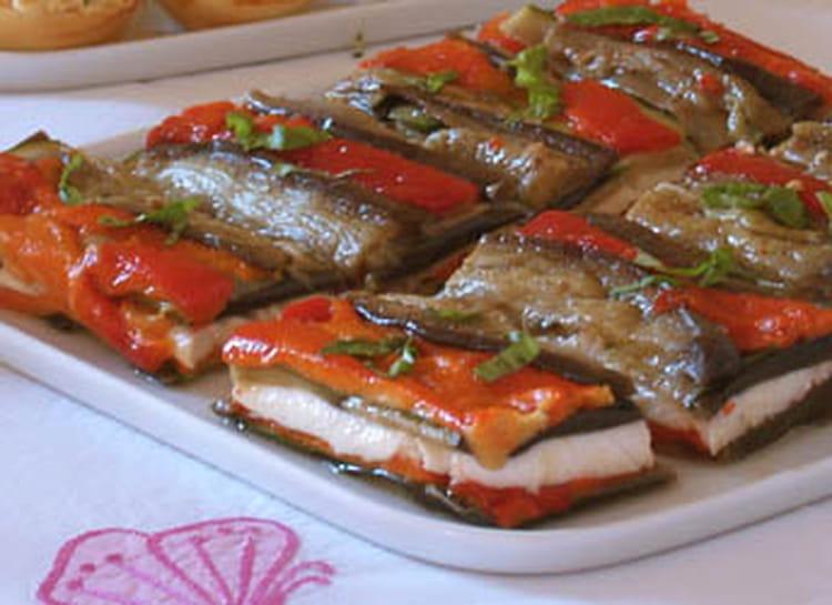 Recette de millefeuille d 39 aubergine et poivron la - Cuisiner l aubergine facile ...