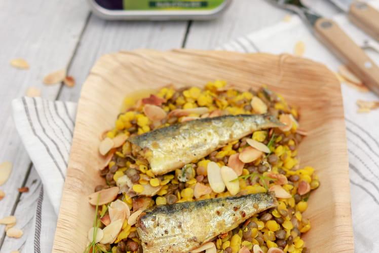 Duo de lentilles, amandes et sardines Détox Le Trésor des Dieux