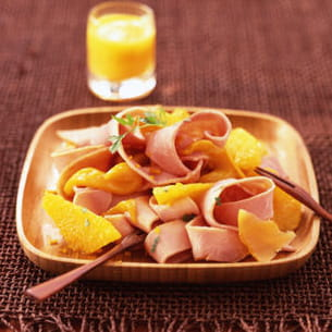 tagliatelle de jambon cuit, mangue, orange