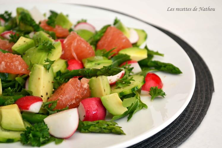 Salade d'asperges, radis et avocat au pamplemousse rose, vinaigrette à l'orange
