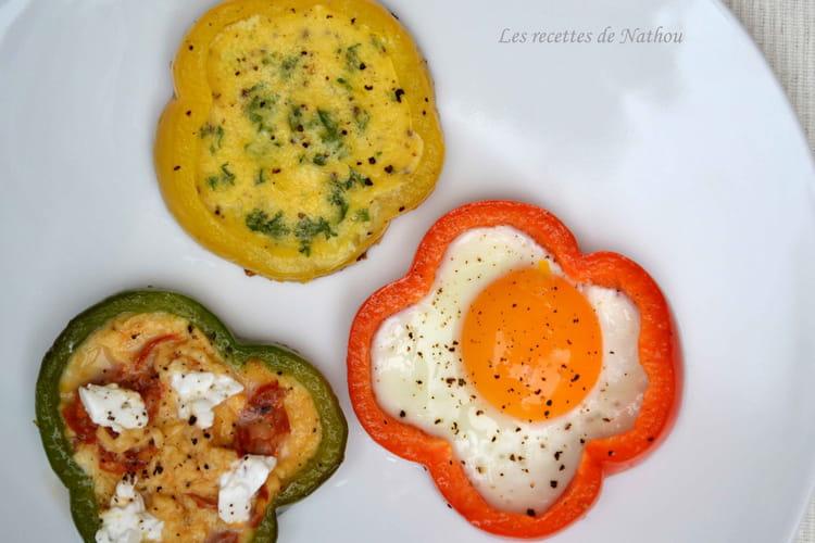 Oeufs aux plats en rondelles de poivron