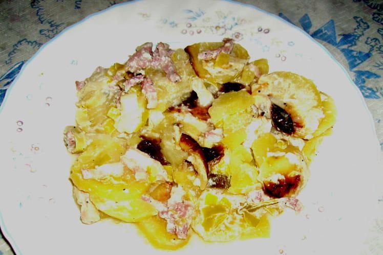 Recette de Pommes de terre au four aux lardons