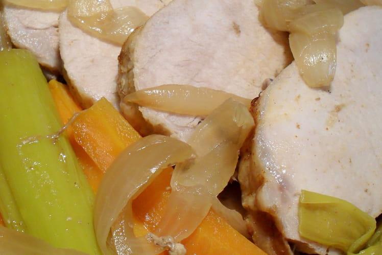 Rôti de porc en papillote aux poireaux et carottes