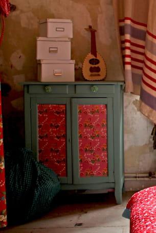 coller du papier peint sur les portes. Black Bedroom Furniture Sets. Home Design Ideas