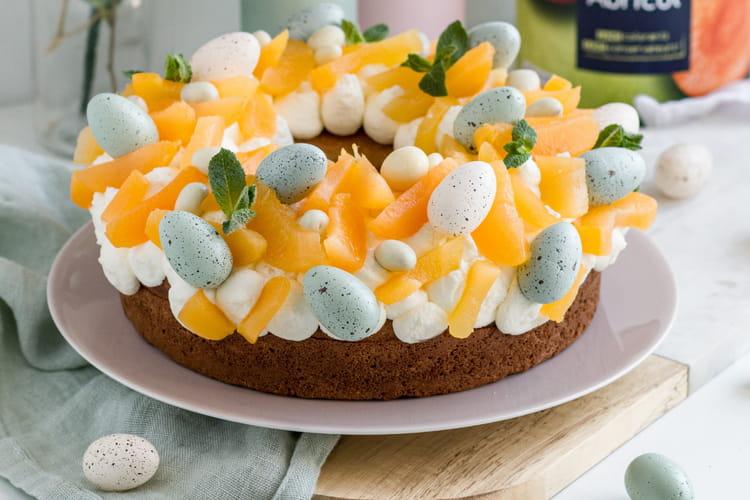 Couronne de Pâques aux abricots et sa crème chantilly coco