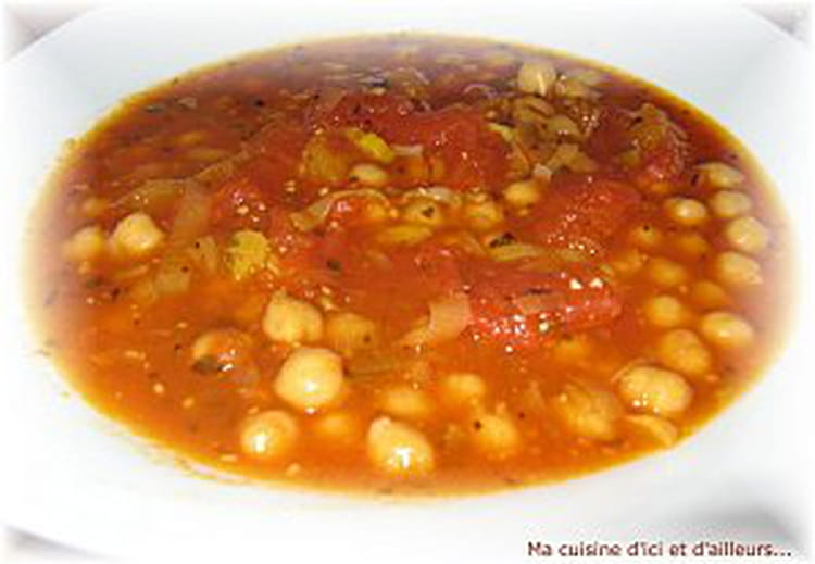 Recette de soupe de tomates aux pois chiches et l 39 origan - Cuisiner des pois chiches ...