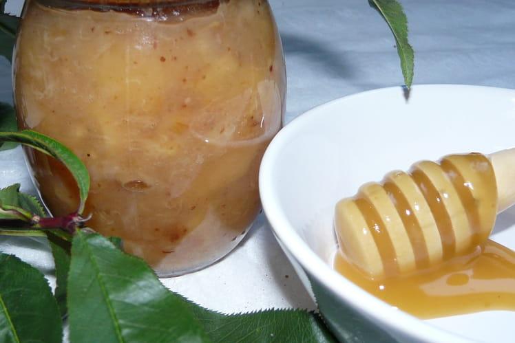 Confiture pêche et banane au miel