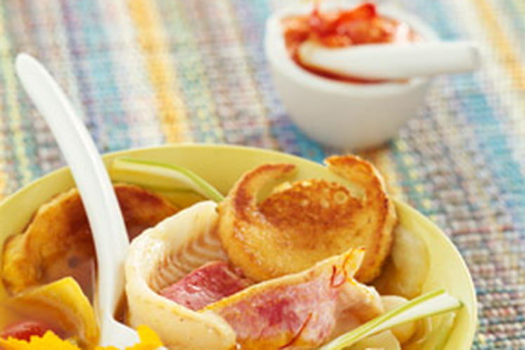 Bouillabaisse au zeste d'orange et blancs de poireau