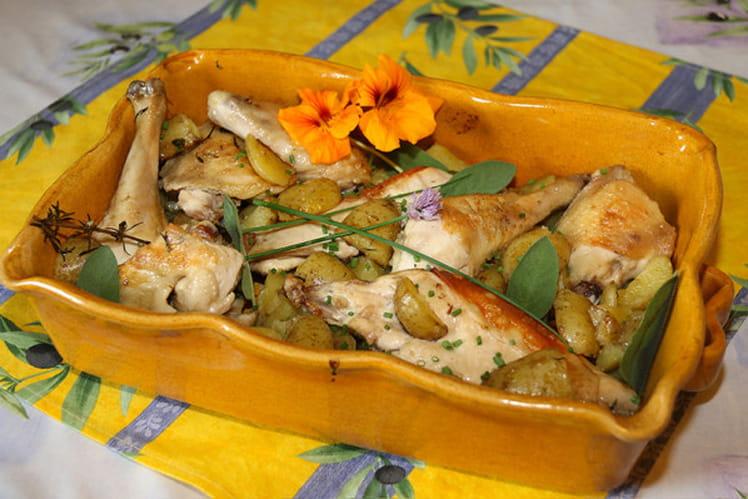 Poulet fermier rôti à la sauge pommes de terre rissolées aux saveurs aromatiques du jardin