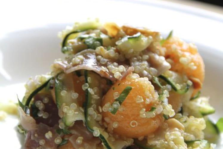 Salade de quinoa, courgette et melon