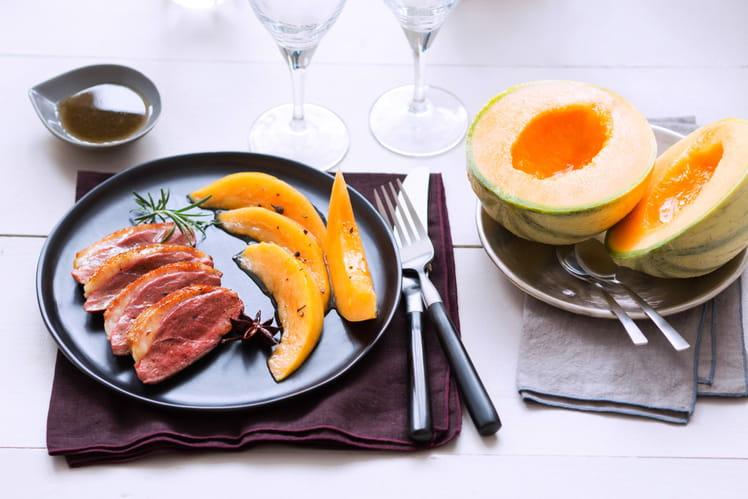 Magret de canard aux épices et au Melon de nos Région
