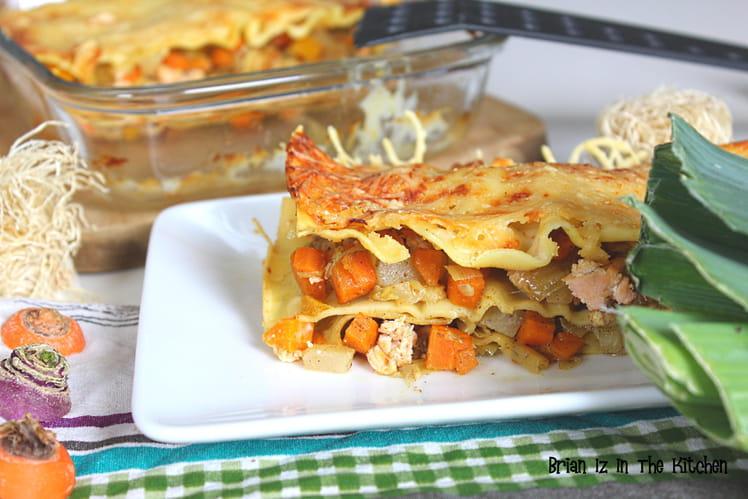 Lasagnes saumon et julienne de carottes, navets et poireaux