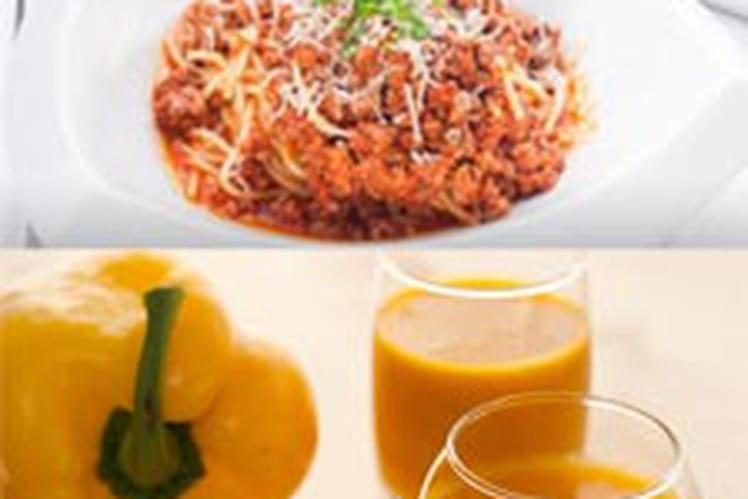 Soupe froide de poivron doux et épices et sa salade paysanne libanaise