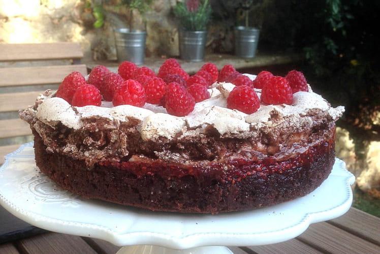 Fondant chocolat framboise meringué