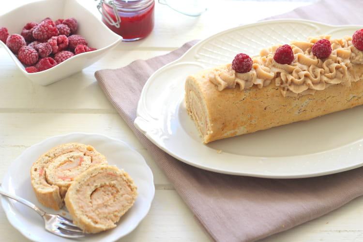 Gâteau roulé à la crème de marron et à la framboise