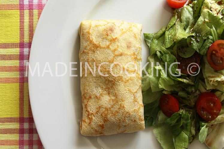 Crêpes aux champignons et au jambon